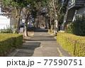 地方都市の風景 住宅地の間を通る細い歩道 77590751