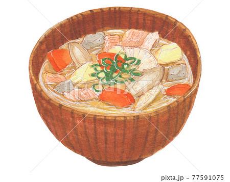 手描き飲食メニュー 豚汁 77591075