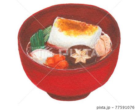 手描き飲食メニュー お雑煮 77591076