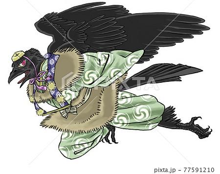 和風イラストの烏天狗 77591210