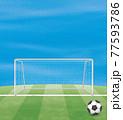 サッカーボールとゴールのイメージイラスト(ベクター画像) 77593786
