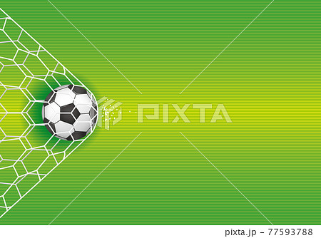 サッカーボールとゴールポストのイメージイラスト(ベクター画像) 77593788