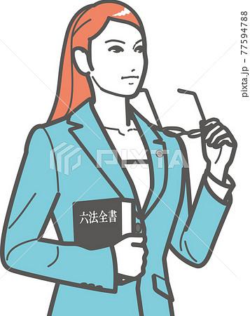 メガネをはずす女性弁護士(上半身) 77594788