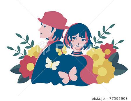 ファッショナブルな男女と花 人物ベクターイラスト 植物イラスト 77595903