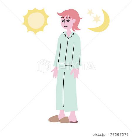 眠たそうなボーッとした朧げな表情の寝起きで寝ぐせのついたパジャマ姿の女性 77597575