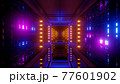 Futuristic passage with colorful lamps 4K UHD 3D illustration 77601902