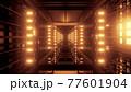 Symmetric tunnel with golden illumination 4K UHD 3D illustration 77601904