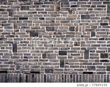 敷き詰められた煉瓦の壁の背景素材 77604150