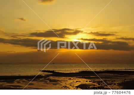 朝日に照らされて輝く雲と薄明光線 77604476