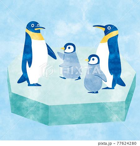 ペンギン家族A アナログ風 77624280