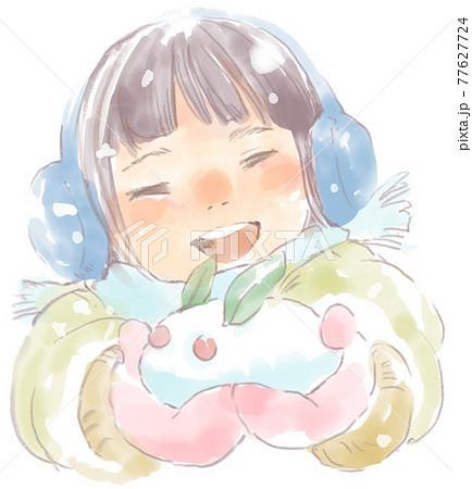 雪あそびをする女の子の水彩イラスト 77627724