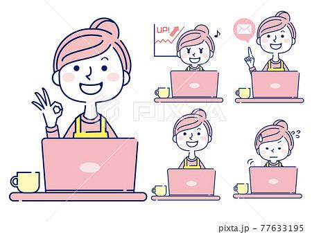 女性 素材 案内 エプロン セット パソコン アウトライン 77633195