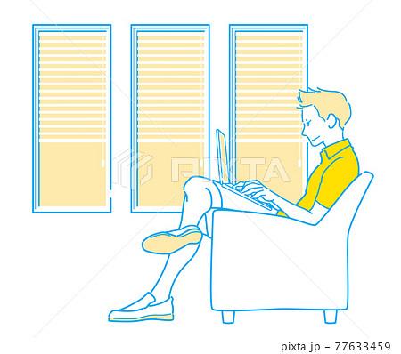 ワーケーション・ノマド - ホテル・カフェの窓際で仕事する男性 77633459