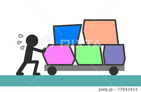 荷物を台車で運ぶ人物 77642914