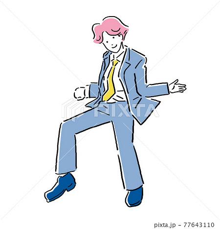 スーツのビジネスマンの色々なポーズ 77643110