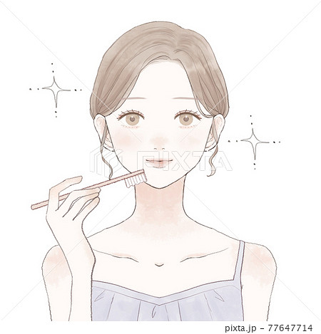歯磨きをする女性 77647714