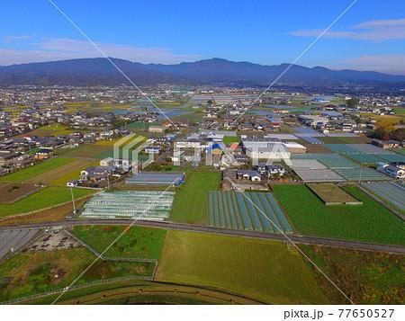 徳島平野〜ドローンで空撮(吉野川 左岸/徳島県上板町綾部) 77650527