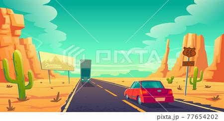 Road in desert with cars ride long asphalt highway 77654202