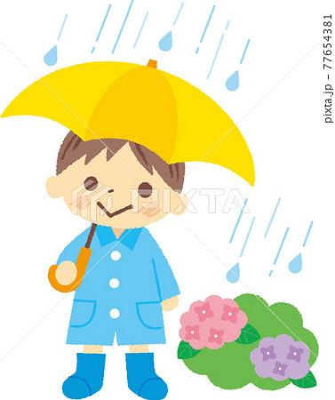 傘をさす男の子 77654381
