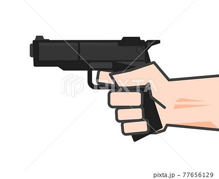 武器の拳銃を向けて威嚇するイラスト 77656129