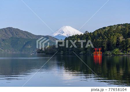 芦ノ湖から見た富士山 77658104