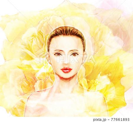 美しい女性と鮮やかな黄色い花の背景の写実的なイラスト 77661893