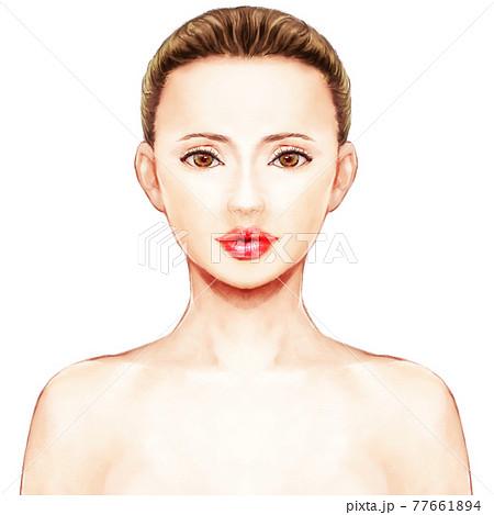 美しい女性の写実的なイラスト 77661894