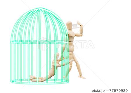 マスクを外して常識の檻から出るデッサン人形と引きづり戻そうとするデッサン人形 77670920