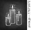 Chalk sketch of thick candles. 77671672