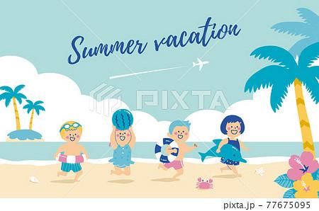 ビーチで遊ぶ子供たちのイラスト サマーバケーション 77675095