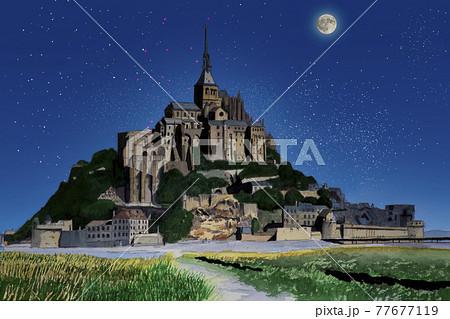 フランスの世界遺産 月夜のモンサンミッシェル 77677119
