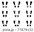 Black silhouettes of traces of rabbits on a white background 77679132