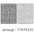 Black mazes rectangle on white background 77679135