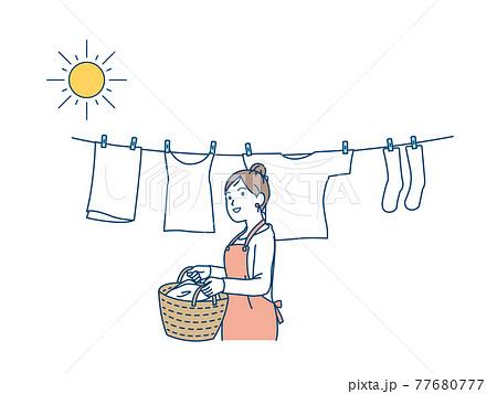 洗濯物を干す 取り込む 主婦 女性 家事 イラスト素材 77680777