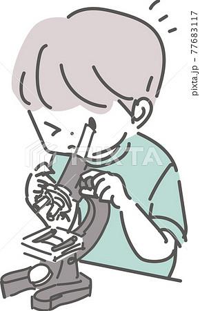 顕微鏡を覗いて観察する男の子のイラスト 77683117