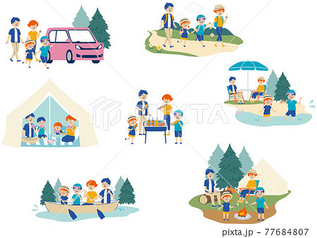 キャンプをする家族のイラストセット 77684807
