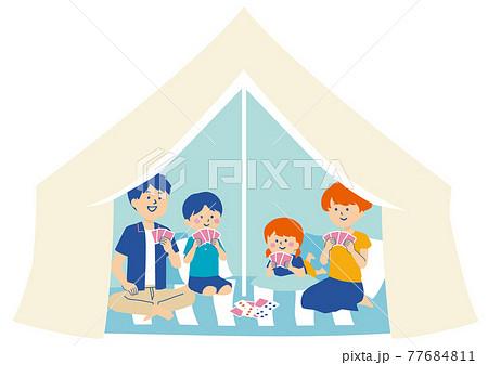 テントの中でくつろぐ家族のイラスト 77684811