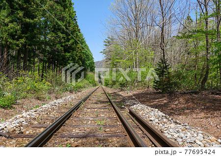塔のへつり駅方面から見た会津鉄道のレール 77695424
