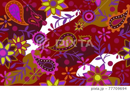 花柄の総柄パターン 77709694