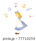 水彩風のアリスのお茶会イラスト アリスと音符 77710259