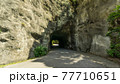 鋸山山頂近くまで続く道路の岩壁をくりぬいた関所のようなトンネル 77710651