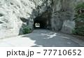 鋸山山頂近くまで続く道路の岩壁をくりぬいた関所のようなトンネル 77710652