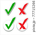 Checkmark cross on white background. Isolated vector sign symbol. Checkmark right symbol tick sign. Flat vector icon. 77715266