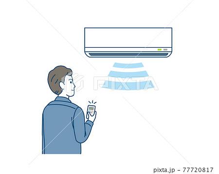 エアコン、クーラーをつける男性 イラスト素材 77720817