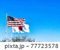 星条旗と日本の国旗と青空イラスト 77723578