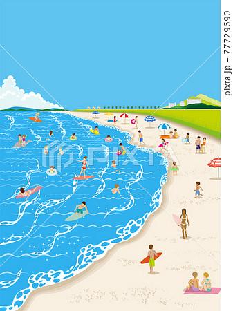 海水浴を楽しむ人々 A4比率 縦 77729690