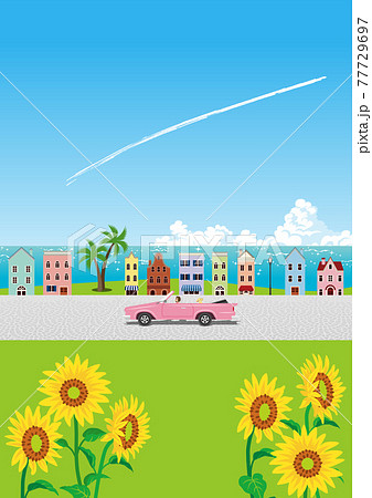海辺の小さな町をドライブするピンクのオープンカー A4比率 縦 77729697