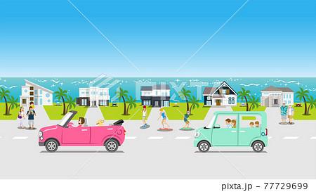 夏の風景 海辺の住宅街をドライブする車 人物付き 77729699