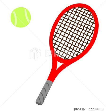 手描きのシンプルなテニスボールとテニスラケットのイラスト 主線なし 77730056