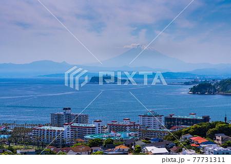 (神奈川県)披露山公園から眺める江ノ島と富士山 77731311
